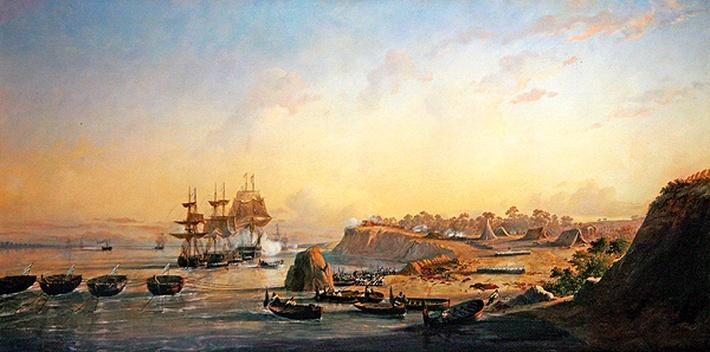 The taking of the batteries at Punto Obligado on 20 November 1845
