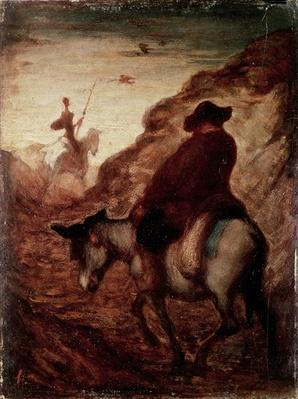 Sancho and Don Quixote, 19th century by Daumier, Honore (1808-79)