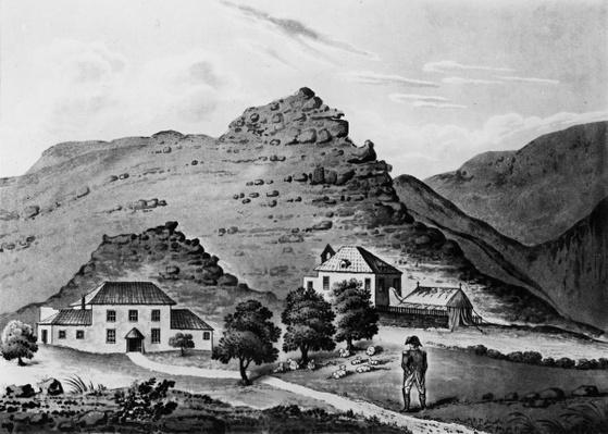 Napoleon facing 'The Briars', home of the Balcombe family who provided accommodation for Napoleon on St Helena from October 19 to December 10, 1815, 1816