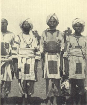 Dervish warriors wearing patched jubbas, Sudan, c.1895