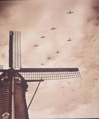 Allied aircraft tow gliders carrying airborne troops over the Netherlands, Battle of Arnhem, 1944