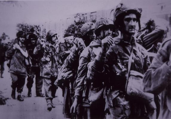 Exhausted British paratroopers taken prisoner by the Germans, Battle of Arnhem, 1944