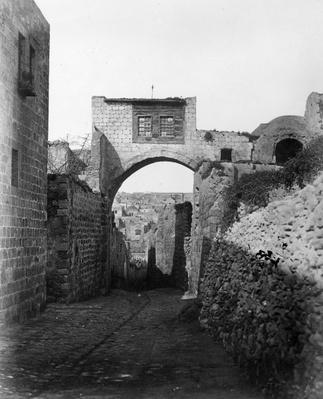 The Ecce Homo Arch across the Via Dolorosa in Jerusalem, 1857