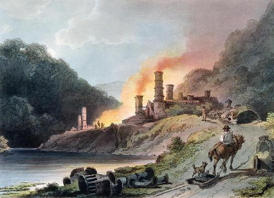 Iron Works, Coalbrookdale, engraved by William Pickett, c.1805