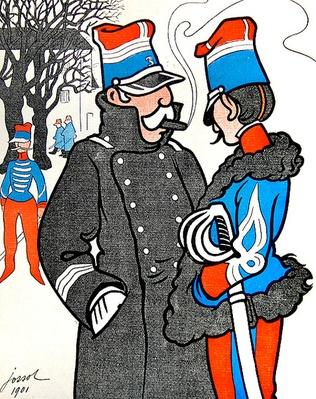 It is quite obvious that a general is more intelligent than a colonel, and a soldier is more foolish than a corporal, from 'L'Assiette au Beurre', 25 January 1902