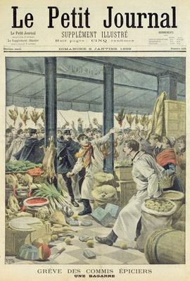 Strike of the grocers, a brawl, title page from 'Le Petit Journal', 8 January 1899