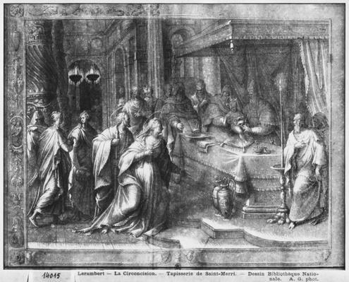 Life of Christ, Circumcision, preparatory study of tapestry cartoon for the Church Saint-Merri in Paris, c.1585-90