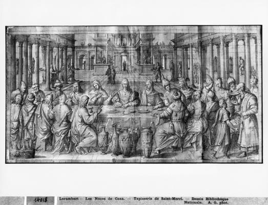 Life of Christ, Marriage at Cana, preparatory study of tapestry cartoon for the Church Saint-Merri in Paris, c.1585-90