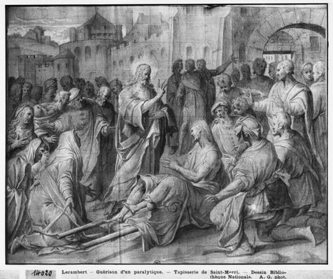 Life of Christ, Jesus healing a paralytic at Capernaum, preparatory study of tapestry cartoon for the Church Saint-Merri in Paris, c.1585-90
