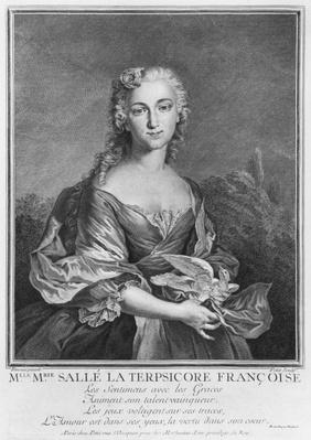 Mademoiselle Marie Salle as the French Terpsichore, engraved by Petit