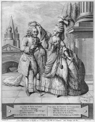 Voltaire crowned by Mademoiselle Clairon, engraved by Jean Victor