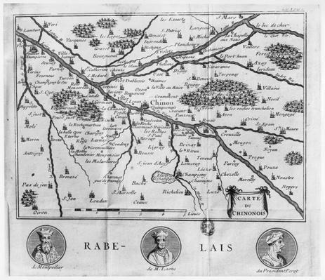 Map of the region of Chinon related to the works of Francois Rabelais, published in 1725