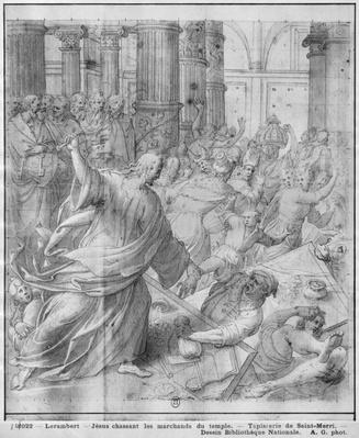 Life of Christ, Jesus chasing the merchants from the Temple, preparatory study of tapestry cartoon for the Church Saint-Merri in Paris, c.1585-90
