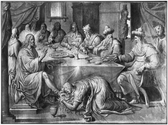 Life of Christ, the Meal at the House of Simon the Pharisee, preparatory study of tapestry cartoon for the Church Saint-Merri in Paris, c.1585-90