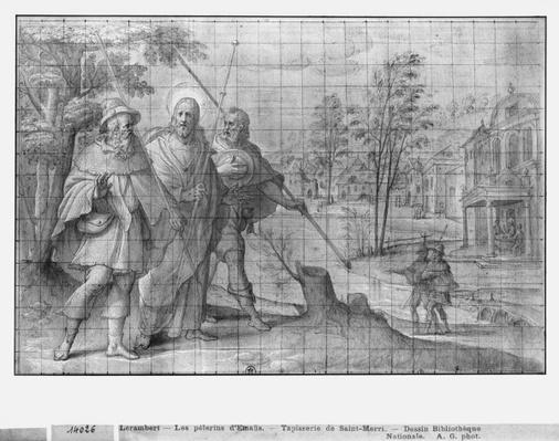 Life of Christ, Christ on the road to Emmaus, preparatory study of tapestry cartoon for the Church Saint-Merri in Paris, c.1585-90