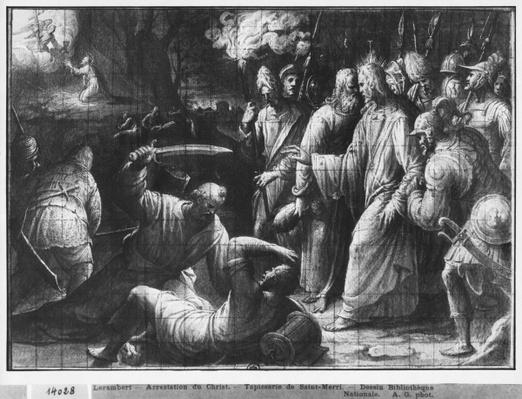 Life of Christ, the Arrest of Christ, preparatory study of tapestry cartoon for the Church Saint-Merri in Paris, c.1585-90