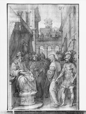 Life of Christ, Christ before Herod, preparatory study of tapestry cartoon for the Church Saint-Merri in Paris, c.1585-90