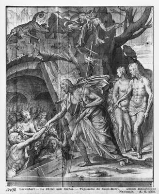 Life of Christ, Christ's Descent into Limbo, preparatory study of tapestry cartoon for the Church Saint-Merri in Paris, c.1585-90
