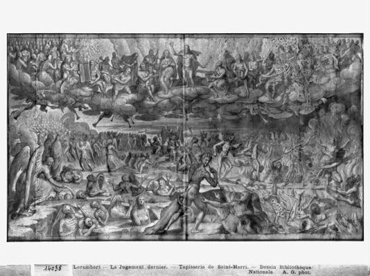 Life of Christ, Last Judgement, preparatory study of tapestry cartoon for the Church Saint-Merri in Paris, c.1585-90