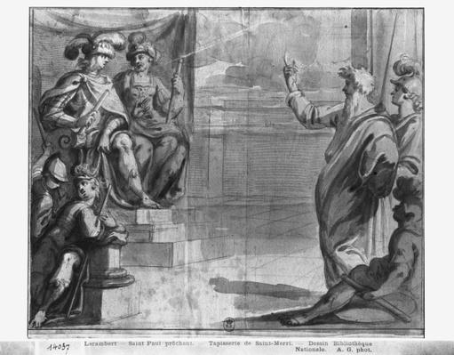 Life of Christ, St. Paul preaching, preparatory study of tapestry cartoon for the Church Saint-Merri in Paris, c.1585-90