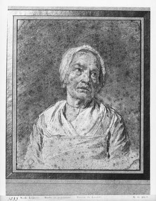 Bust of an old woman with head raised