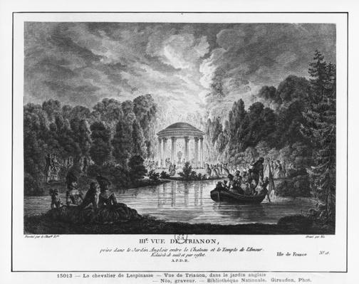 Third view of Trianon, taken from the English garden between the castle and the Temple of Love, engraved by Francois Denis Nee
