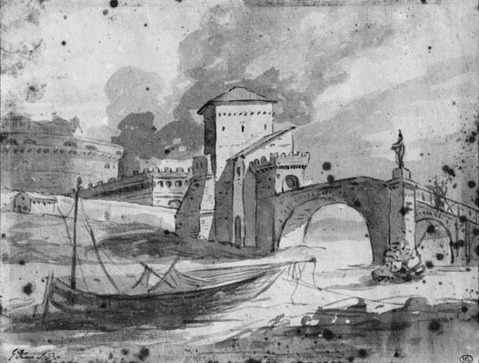View of the Tiber near the bridge and the castle Sant'Angelo in Rome, c.1775-80