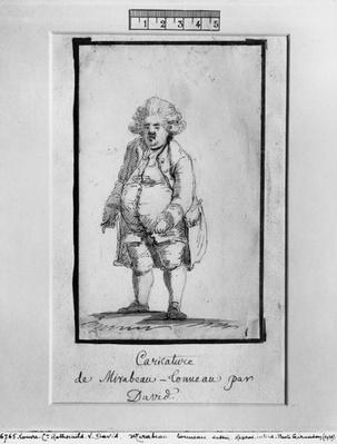 Caricature of Andre Boniface Louis of Riqueti, Viscount of Mirabeau, nicknamed Mirabeau-Tonneau