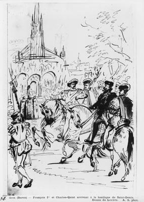 Francis I and Charles V arriving at the Abbey Church of Saint-Denis, c.1811