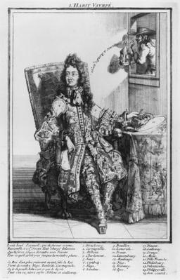 Satirical cartoon lampooning Louis XIV, 1693-1705