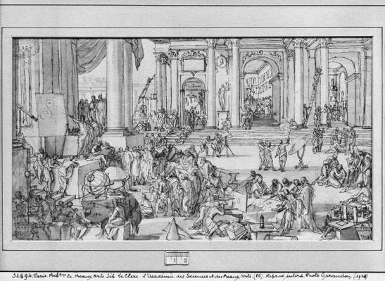 The Academy of Sciences and Fine Arts by Le Clerc, Sebastien I (1637-1714)