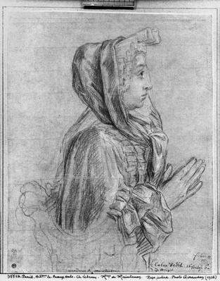 Half length profile of a woman with hands clasped, known as Madame de Maintenon