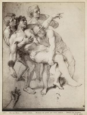 Half naked man supported by three men, study for 'Alexander the Great and Porus' or 'The Defeat of Porus', c.1665-73