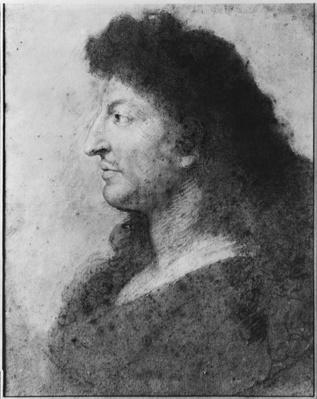 Portrait of Louis XIV in profile, with bare neck and long hair, c.1678