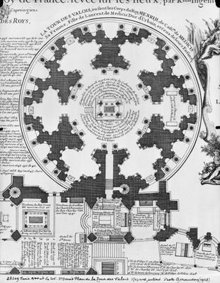 Basilica Saint-Denis, plan of the Valois Tower, 1705