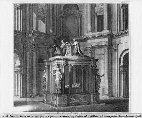 Tomb of Henri II and Catherine de Medicis in the Valois mausoleum, illustration from 'Histoire de l'abbaye royale de Saint-Denis en France' by Dom Michel Felibien, 1706 edition