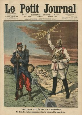 Both sides of the border, front cover illustration from 'Le Petit Journal', supplement illustre, 24th September 1911