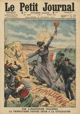 Italy providing civilization to Tripolitania, illustration from 'Le Petit Journal', supplement illustre, 15th October 1911