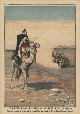 Effects of the new civilization at Tripoli, illustration from 'Le Petit Journal', supplement illustre, 5th November 1911