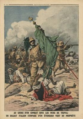 An Italian soldier seizing the green standard of Prophet Muhammed, illustration from 'Le Petit Journal', supplement illustre, 12th November 1911