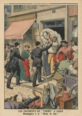 Problems of term in Paris, clandestine removal men, illustration from 'Le Petit Journal', supplement illustre, 29th October 1911