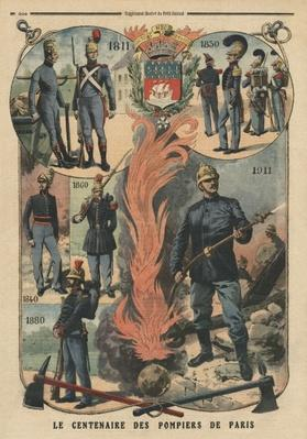 Paris firemen centenary, illustration from 'Le Petit Journal', supplement illustre, 8th October 1911