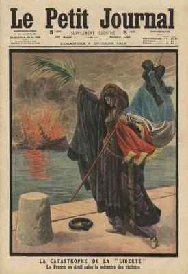Catastrophe of the pre-dreadnought battleship 'Liberte', France in mourning for the victims, front cover illustration from 'Le Petit Journal', supplement illustre, 8th October 1911