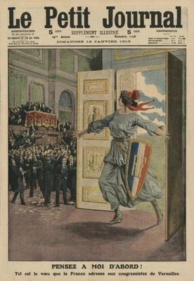 Wish of the French Republic at the Congress of Versailles, Think first of me, front cover illustration from 'Le Petit Journal', supplement illustre, 12th January 1913