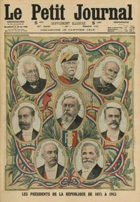 The Presidents of the French Republic from 1817 to 1913, front cover illustration from 'Le Petit Journal', supplement illustre, 19th January 1913