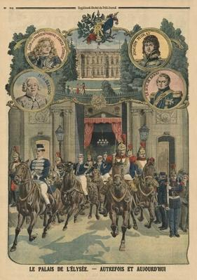 The Elysee Palace, formerly and today, back cover illustration from 'Le Petit Journal', 26th January 1913