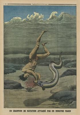 A swimming champion attacked by a sea monster, back cover illustration from 'Le Petit Journal', supplement illustre, 16th February 1913