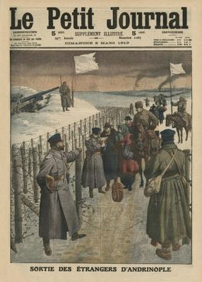 Foreigners coming out of Andrinople, front cover illustration from 'Le Petit Journal', supplement illustre, 2nd March 1913