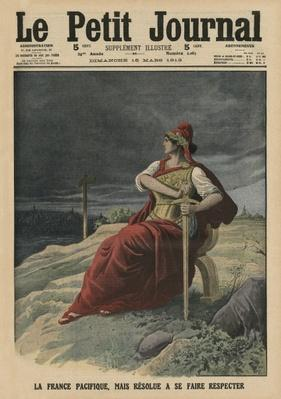 Not only is France pacifist but determined to be respected, front cover illustration from 'Le Petit Journal', supplement illustre, 16th March 1913