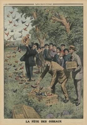 Birds' Day, back cover illustration from 'Le Petit Journal', supplement illustre, 27th April 1913